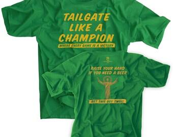 Tailgate Like A Champion Irish Green Shirt Notre Dame Touchdown Jesus Football Tee
