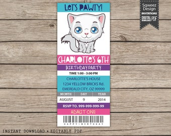 Kitty Birthday Invitation, Kitten Party Invitation, Cat Party Invitation, Cat Invitation, Kitten Invitation - Instant Download Editable PDF
