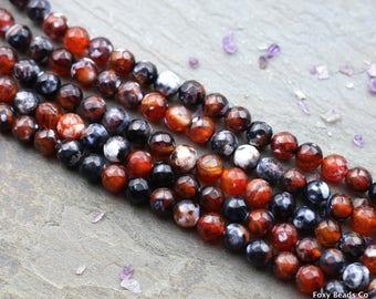 Fire Agate Beads, Agate Beads, Fire Agate 8mm Red Beads, Red Fire Agate Beads, Round Beads, Faceted Beads, Gemstone Beads