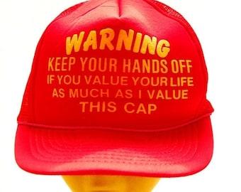 SALE 70s 80s Vintage Snapback hat / WARNING Custom Trucker Hat / Yellow Red Baseball Cap / Hipster Mesh Hat / Humor Funny Snap Back Farmer H