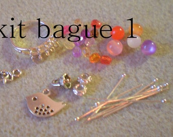 """KIT to do it yourself 1 * ring pink and orange"" support + beads"