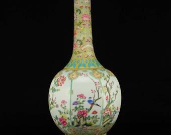 N3796 Chinese Gilt Edges Famille Rose Porcelain Vase