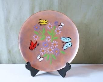 Enamel Copper Plate with Flower / Butterfly Design by Annemarie Davidson