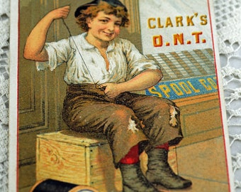 Spool Thread  1800s Trade Card Little Boy for Clark's Spool Cotton Thread  #228-AS