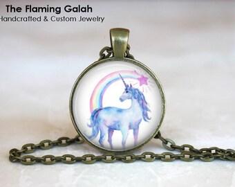 UNICORN Pendant •  Unicorn and Rainbow •  Unicorn Jewellery •  Gift Under 20 • Made in Australia •  (P1490)