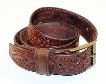 Brown Leather Belt With Oak Leaves,Leather Belt , Handmade Belt,Great Gift. Brown belt.