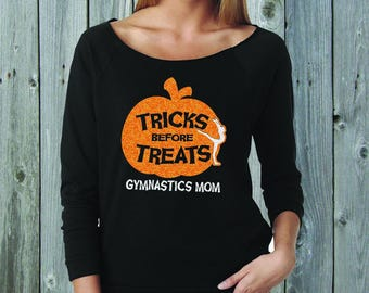 Tricks Before Treats Gymnast Mom Wide Neck Fleece Black