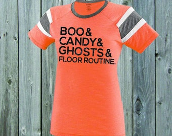 Boo and Candy and Ghosts Gymnast Stripe Tee