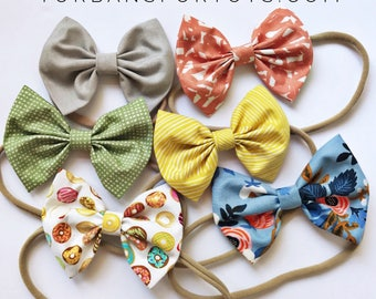 July's Set- baby bow nylon headband - baby bow clips