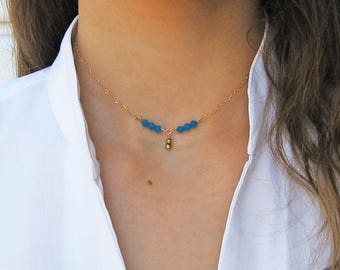 Delicate Y Necklace, Blue Caribbean Necklace, 14k Gold Fill or Sterling Silver, Swarovski Crystal Necklace, Choker Necklace, Ocean Jewelry