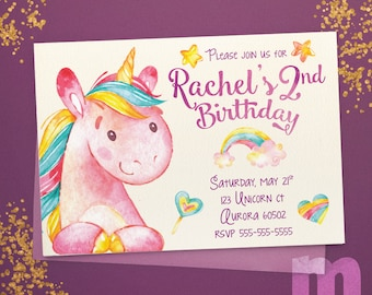 Unicorn, Kids Birthday Invitation, Kids Birthday Card, Digital Birthday Invitations, Digital Birthday Card, Printable Birthday Invitation