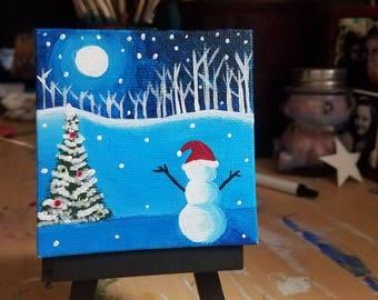 Mini snowman painting