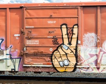 Cool Hand: Train are, graffiti. Frame not included. Individually photographed and printed by Frank Heflin
