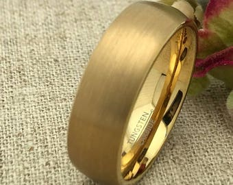 8mm Tungsten Wedding Ring, Personalized Yellow Gold Plated Tungsten Wedding Ring, Brushed Finish, Unisex Wedding Ring, Free Engraving TCR226