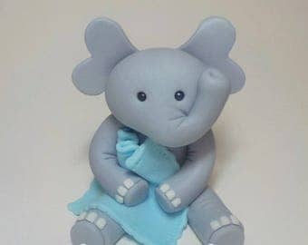 Fondant Elephant Cake Topper with Blanket Boy Girl 1st Birthday Baby Shower Lt. Blue or Pink Custom Color Option