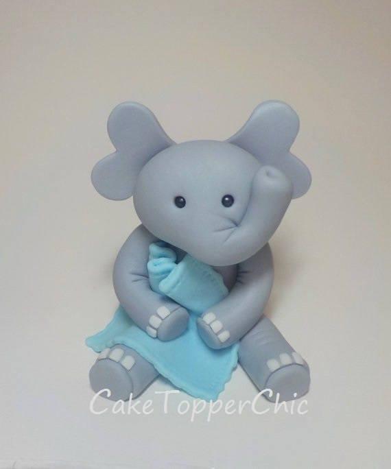 Fondant Elephant Cake Topper With Blanket Boy Girl 1st
