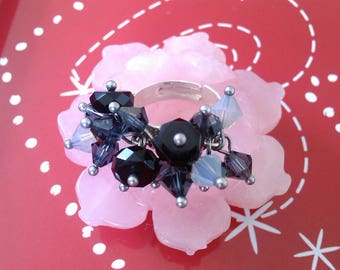 Gorgeous ring pendants 925 Silver ring Bohemian crystal and Swarovski black and gray