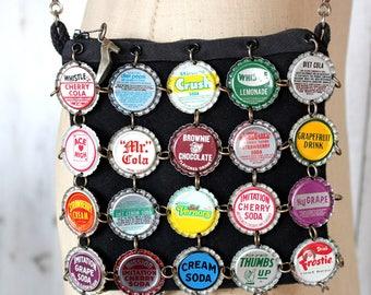 Vintage Janet Cooper Bottle Cap Purse 1990s Wearable Art Recycle Artist