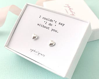 Bridesmaids Earrings - bridesmaid gift - bridesmaid thank you - best friend gift - flower girl gift - silver heart earrings