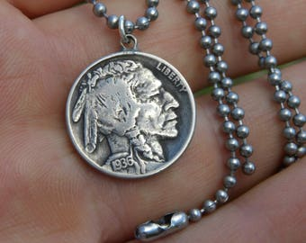 Authentic Buffalo Indian Nickel coin Various dates pendant bracelet anklet  tribal surfer style handmade stainless steel chain