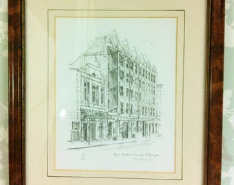 Framed Pen and Ink Drawing of the Royal Theatre Northampton Limited Edition Print