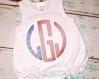 FAST SHIP!! Sketched Circle Monogram Tee or Bodysuit, Patriotic Monogram, Fourth of July Applique, Patriotic Shirt, Flag Monogram, Flag Shir