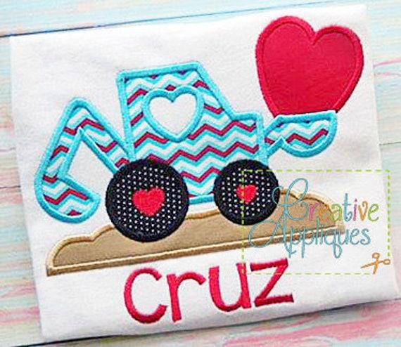 Valentine Digger Backhoe Applique, Boy Valentine's Shirt, Digger Valentine's Shirt, Boy Heart Tee, Boy Heart Shirt