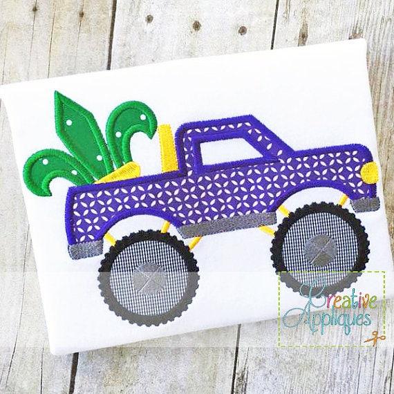 Mardi Gras Fleur de Lis Monster Truck  Applique, Fleur de lis, Mardi Gras Boy Tee, Mardi Gras Shirt Boy