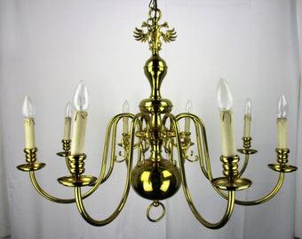 Large Vintage Ornate Flemish Dutch 8 Arms Lights Chandelier Brass Eagle