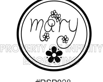 Personalized Created by Flowers-  Rubber Stamp