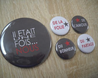 56 mm + 4 x 25mm 1 magnet - once upon a time... US - grey and Red