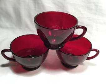Set of three (3) Anchor Hocking Punch/Snack Cup in Royal Ruby ~~Free Local Shipping