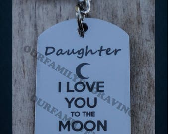 Daughter I love you to the moon and back keychain pendant necklace