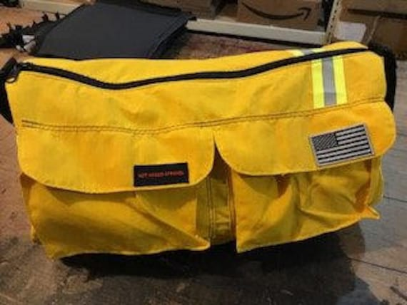 Bunker gear duffle bag yellow/ yellow reflective Black/ Grey Flag upcycled recycled custom firefighter