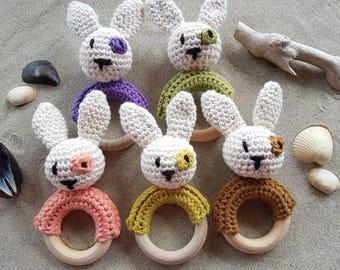 Baby bunny teething ring