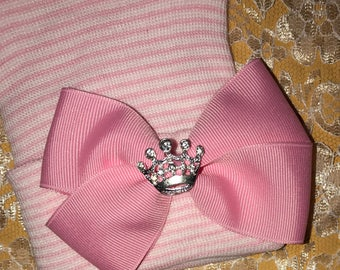 Newborn Hospital Hat Baby's 1st Keepsake! Hat with Light Pink Bow and Rhinestone Tiara Because Every Baby Girl is A Princess! The Alexandra