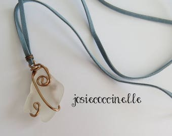 Beach style white glass long necklace boho-chic