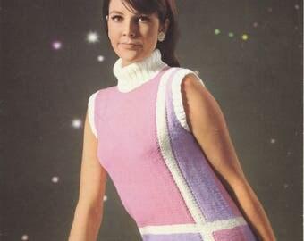 1960's Knitting Pattern | Original Vintage Pattern | Roll Neck Sleeveless Sweater | 34 36 38 | Patons 9622