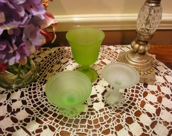 3 Pieces of Vintage Glass/Vintage Indiana Glass/Vasoline Glassware/Vintage Frosted glass/Vintage Green Vasoline Glass/Opulent Glass/Compotes