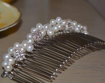 Wedding Veil Comb, Rhinestone Hair Comb, Bridal Haircomb, Wedding Jewelry, Wedding Accessories, Bridal Hair comb, Freshwater Pearl Haircomb