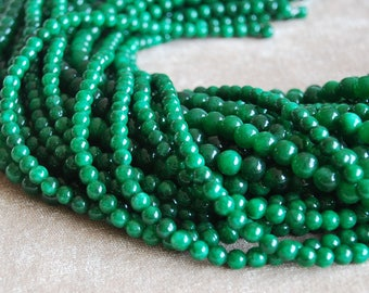 "Round Jade Beads Green Jade Ball Beads Wholesale 4mm 6mm 8mm 10mm 12mm Beads 15"" Strand"
