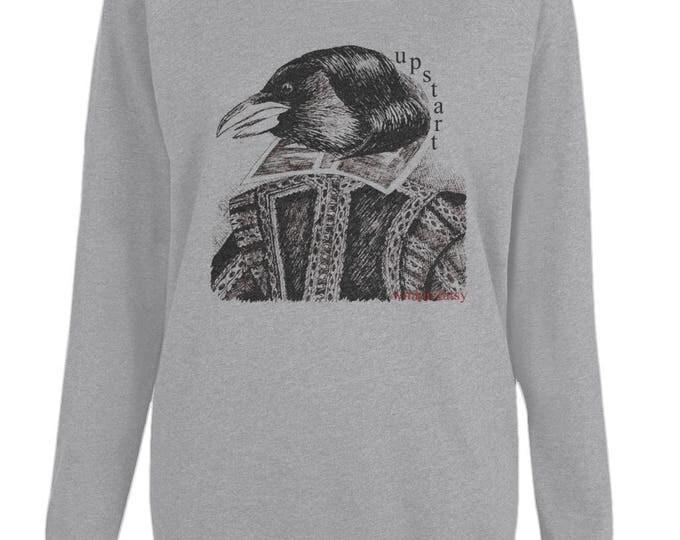 Upstart Crow William Shakespeare Original Line Drawing Womens Organic Cotton Raglan Sweatshirt. Grey.