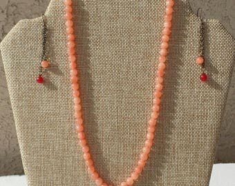 Peachy/orange Necklace and Earrings - Natural Stones