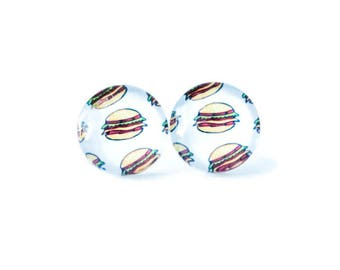 Cheeseburger - Fast food - Miniature Food - Gifts for foodies - Food earrings - Hamburger earrings  - Gifts for foodie - Food jewelry