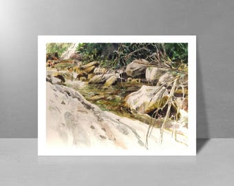 Brook, the tales leaf - original watercolor painting