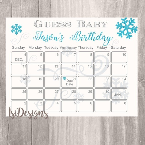 Snowflake Calendar Printables : Winter guess baby s birthday personalized shower