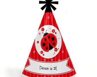 Modern Ladybug Birthday Party Hats - Personalized Ladybug Birthday Party Supplies - Modern Ladybug Cone Party Hats - 8 Ct. (Standard Size)