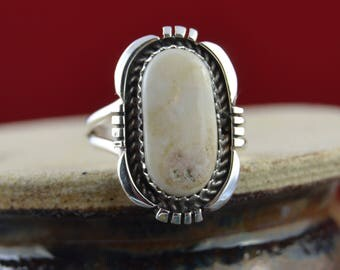 Navajo handmade sterling silver & Wild Horse Magnesite ring size 7