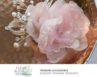 hair flower | bridal flower | flower hair piece | flower for hair | wedding headpiece | silk fascinator | blush pink hair accessories