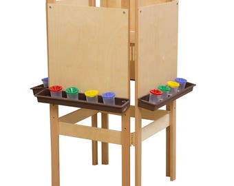 Classroom Easel, 4-Sided Adjustable Kid's Art Easel with Plywood Art Surface and Brown Trays